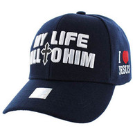 VM077 My Life All To Him Jesus Christian Velcro Cap (Solid Navy)