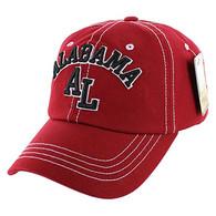 BM001 Alabama Washed Cotton Cap (Solid Burgundy)