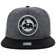 SM804 Cali Bear Snapback Cap (Charcoal & Black)