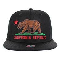 SM013 Cali Bear Snapback Cap (Black & Black)