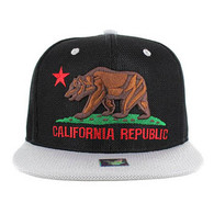 SM013 Cali Bear Snapback Cap (Black & Grey)