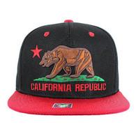 SM013 Cali Bear Snapback Cap (Black & Red)