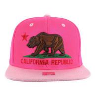 SM013 Cali Bear Snapback Cap (Hot Pink & Light Pink)