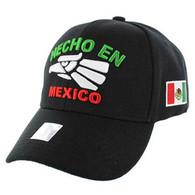 VM040 Hecho En Mexico Cotton Baseball Cap Hat  (Solid Black)