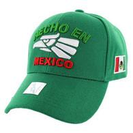 VM040 Hecho En Mexico Cotton Baseball Cap Hat  (Solid Kelly Green)