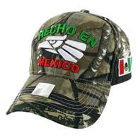 VM040 Hecho En Mexico Cotton Baseball Cap Hat  (Solid Hunting Camo)