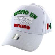 VM040 Hecho En Mexico Baseball Cap Hat  (Solid White)