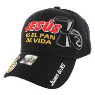 VM012 Juan 6:35 Jesus Christian Velcro Cap (Solid Black)