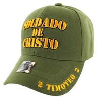 VM009 Soldado De Cristo Jesus Christian Velcro Cap (Solid Olive)