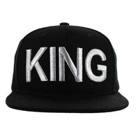 SM1000 King Snapback Cap (Solid Black) - Silver Stitch