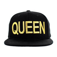 SM1000 Queen Snapback Cap (Solid Black) - Gold Stitch