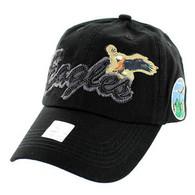 BM024 Eagle Cotton Baseball Cap (Solid Black)