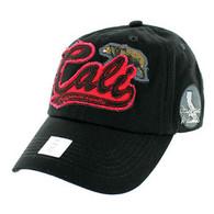 BM019 Cali Bear Cotton Velcro Cap (Solid Black)