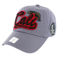 BM019 Cali Bear Cotton Velcro Cap (Solid Grey)