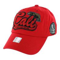 BM019 Cali Bear Cotton Velcro Cap (Solid Red)