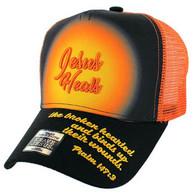 VM004 Jesus Heals Christian Velcro Cap (Black & Orange)