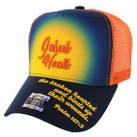 VM004 Jesus Heals Christian Velcro Cap (Navy & Orange)