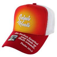 VM004 Jesus Heals Christian Velcro Cap (Red & White)