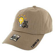 VM005 God is My Light Jesus Christian Velcro Cap (Solid Khaki)