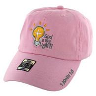 VM005 God is My Light Jesus Christian Velcro Cap (Solid Light Pink)