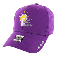 VM006 God is My Light Jesus Christian Velcro Cap (Solid Purple)