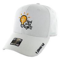 VM006 God is My Light Jesus Christian Velcro Cap (Solid White)
