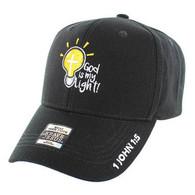 VM006 God is My Light Jesus Christian Velcro Cap (Solid Black)