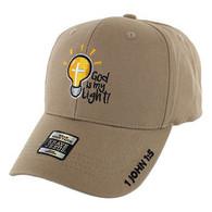 VM006 God is My Light Jesus Christian Velcro Cap (Solid Khaki)