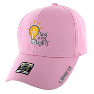 VM006 God is My Light Jesus Christian Velcro Cap (Solid Light Pink)
