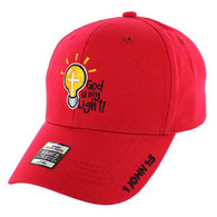 VM006 God is My Light Jesus Christian Velcro Cap (Solid Red)