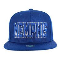 SM013 Memphis Whole Mesh Snapback (Solid Royal)