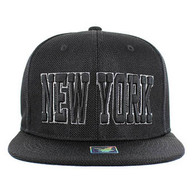 SM013 New York Whole Mesh Snapback (Solid Black)