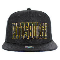 SM013 Pittsburgh Whole Mesh Snapback (Solid Black)