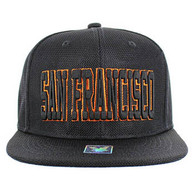 SM013 San Francisco Whole Mesh Snapback (Solid Black) --- Orange Stitch