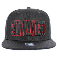SM013 San Francisco Whole Mesh Snapback (Solid Black) --- Red Stitch