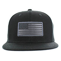 SM9004 USA Flag Snapback Cap (Solid Black)