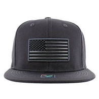 SM9004 USA Flag Snapback Cap (Solid Charcoal)