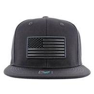 SM9004 USA Flag Snapback Cap (Solid Charcoal)