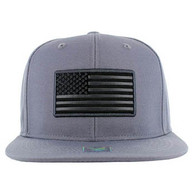SM9004 USA Flag Snapback Cap (Solid Grey)