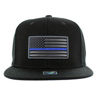 SM9004 USA Flag Blue Strip Snapback Cap (Solid Black)
