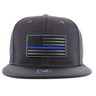 SM9004 USA Flag Blue Strip Snapback Cap (Solid Charcoal)