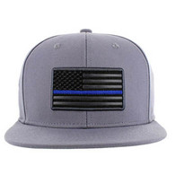 SM9004 USA Flag Blue Strip Snapback Cap (Solid Grey)
