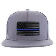 SM9004 USA Flag Blue Strip Snapback Cap (Solid Grey)