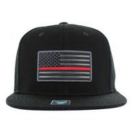 SM9004 USA Flag Red Strip Snapback Cap (Solid Black)