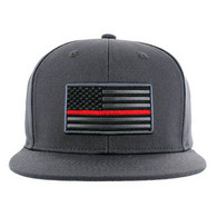 SM9004 USA Flag Red Strip Snapback Cap (Solid Charcoal)