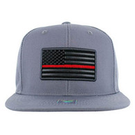 SM9004 USA Flag Red Strip Snapback Cap (Solid Grey)