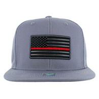 SM9004 USA Flag Red Strip Snapback Cap (Solid Grey)
