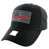 VM9005 USA Flag Red Strip Cotton Cap (Solid Black)
