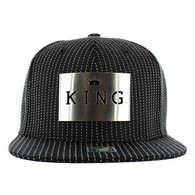 SM006 King Snapback (Solid Black) - Silver Metal