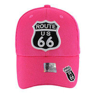 VM013 Route 66 Whole Mesh Velcro Cap (Solid Hot Pink)